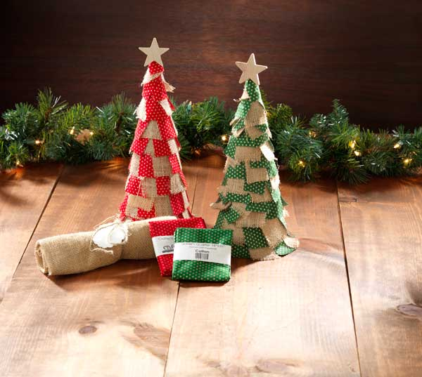 Holiday burlap fabric ribbon paper mache cones for Cardboard cones for crafts