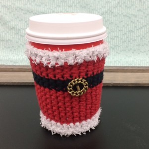 crocheted santa mug wrap