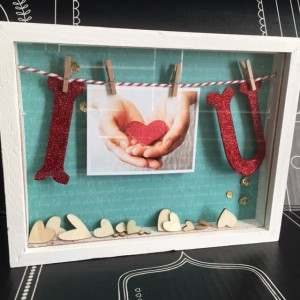 Valentines heart shadow box gift diy