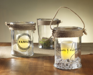 glass candle holder with vinyl rubons