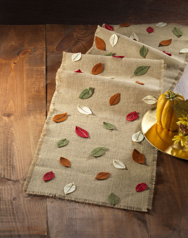 Burlap Fall Leaf Table Runner
