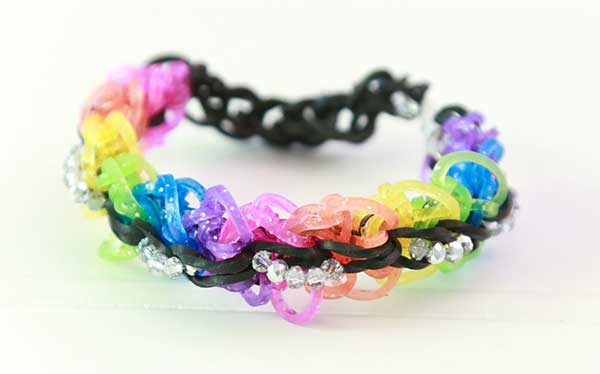 Glitter Crystal Loom Band Bracelet