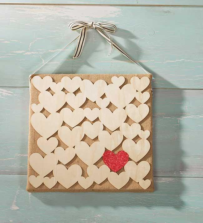 Wood Hearts DIY on Burlap Canvas