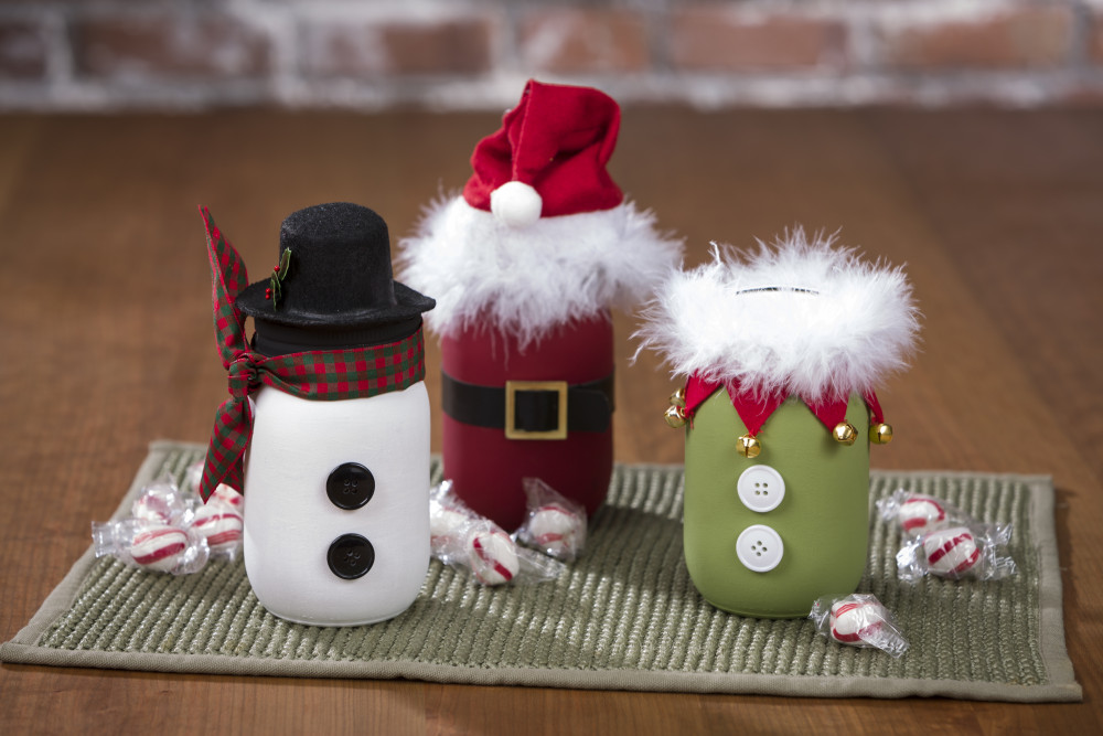 Santa Snowman And Elf Chalky Paint Mason Jars Craft