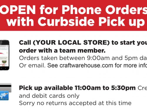 OPEN for Phone Orders with Curbside Pick-Up