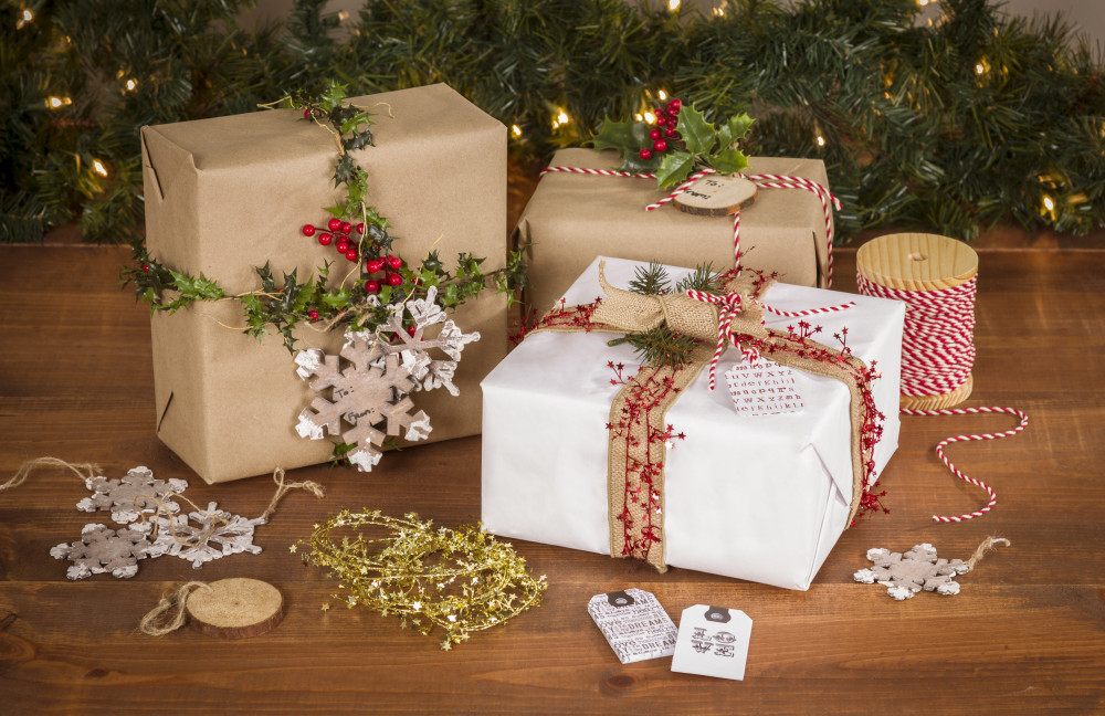 gift wrap paper bakers twine garland tags ornaments