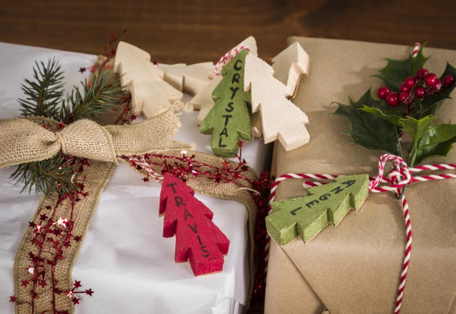 Wood Christmas Tree Gift Tags