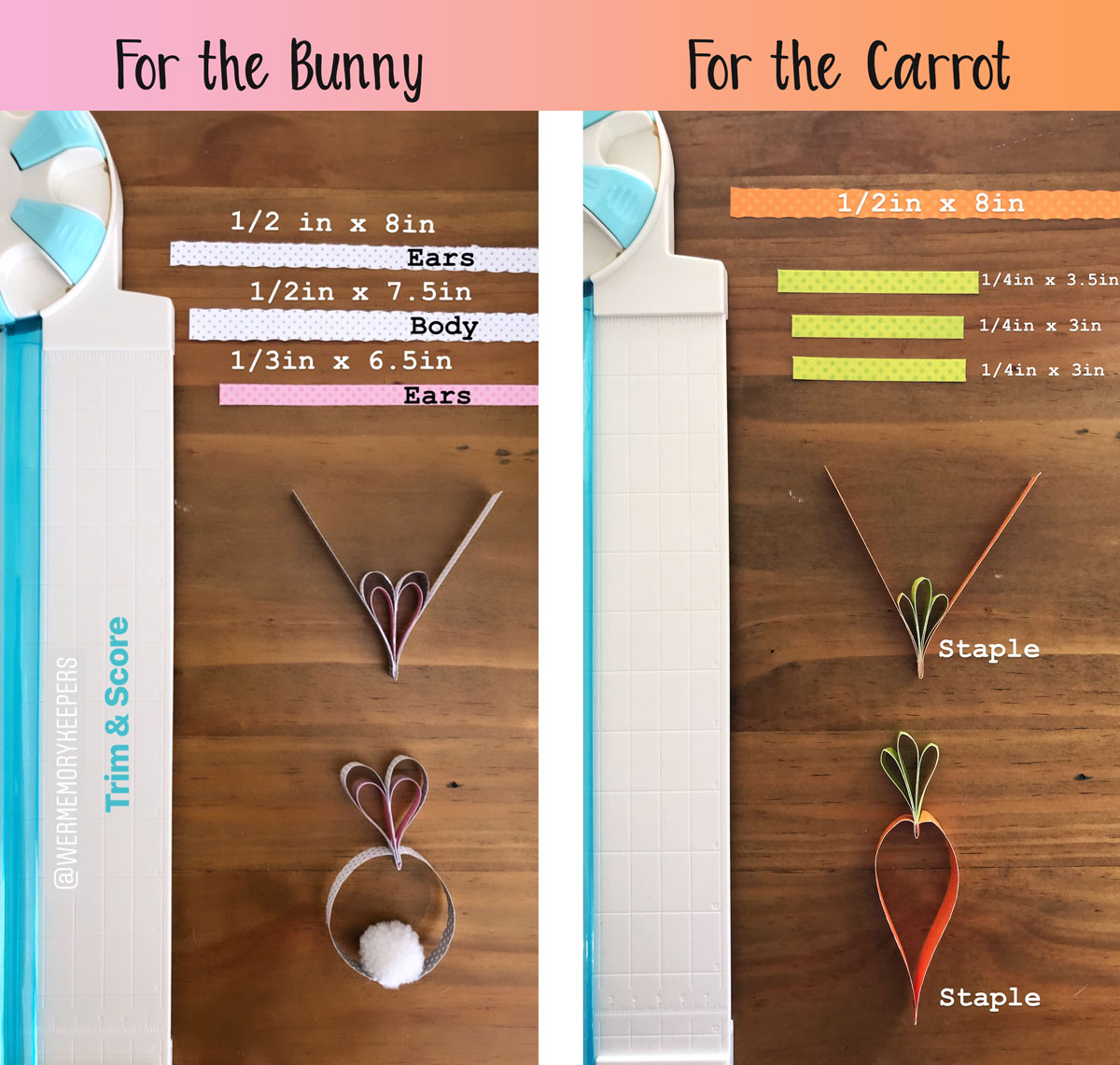 How to make a bunny and carrot garland with paper strips