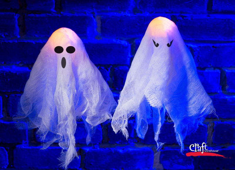 Making Cheesecloth Ghosts at Craft Warehouse