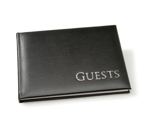 Guest Book - Black - Embossed Silver - 8-1/2-inch x 6-1/4-inch