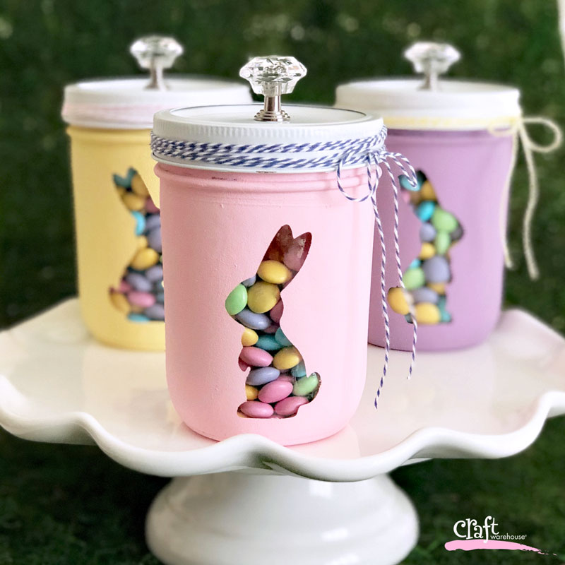 Easter How to Make this Bunny Trio Mason Jar Display
