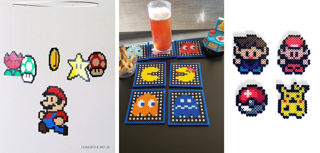 Geeky Video Game Perler Projects