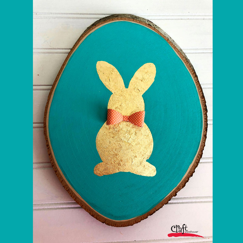 Gold Bunny Gilded Wood Plaque