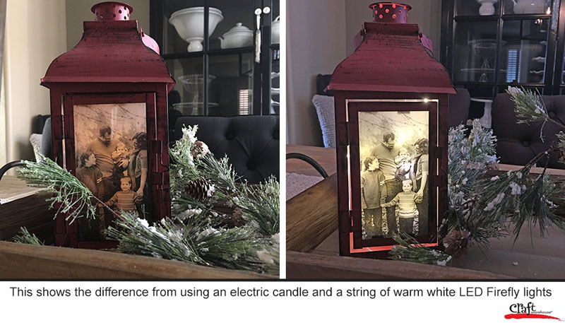 Photo Lantern shown with candle and with firefly lights at Craft Warehouse