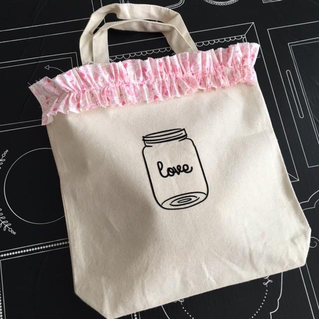 diy shopping bag with moda fabric ruffle