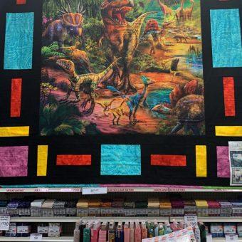 Dinosaur fabric panel at Craft Warehouse