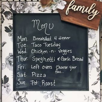 Create a menu board for the kitchen