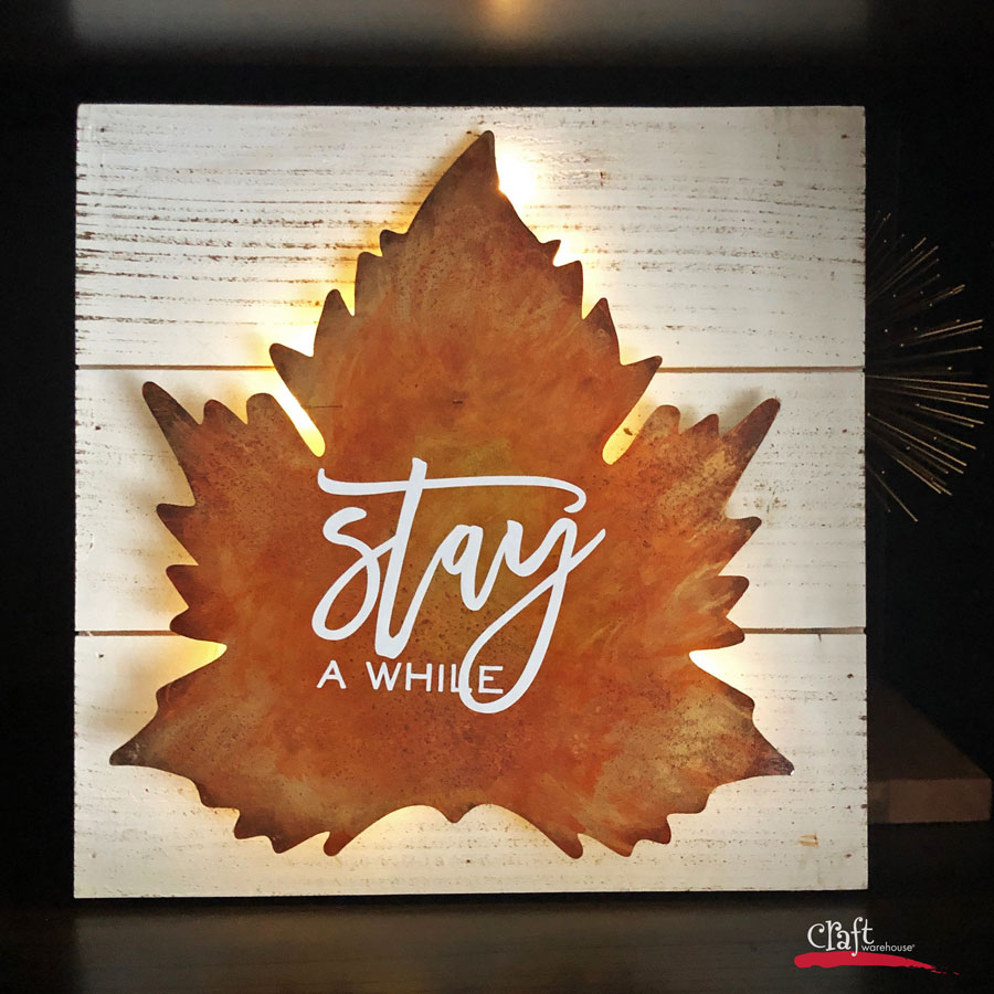Make this: Metal Leaf Lighted Wall Decor with Alcohol Inks