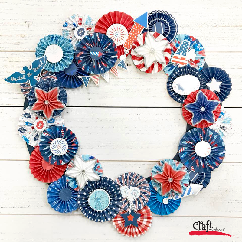 Land that I Love Paper Rosette Wreath