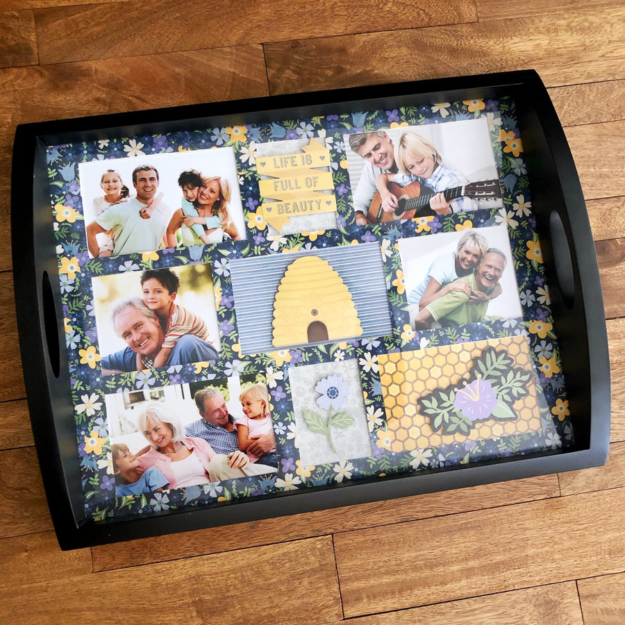 Photo Collage tray to Show off a Disney Trip