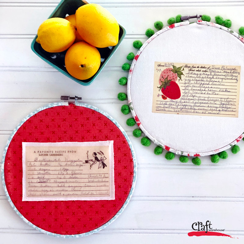 Make this Vintage Recipe Hoop Art for your Kitchen. Learn how