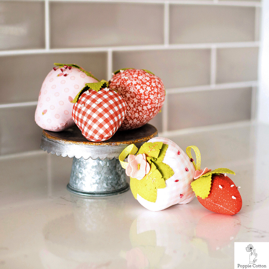 Make a Strawberry Pincushion from Poppie Cottons Fabrics