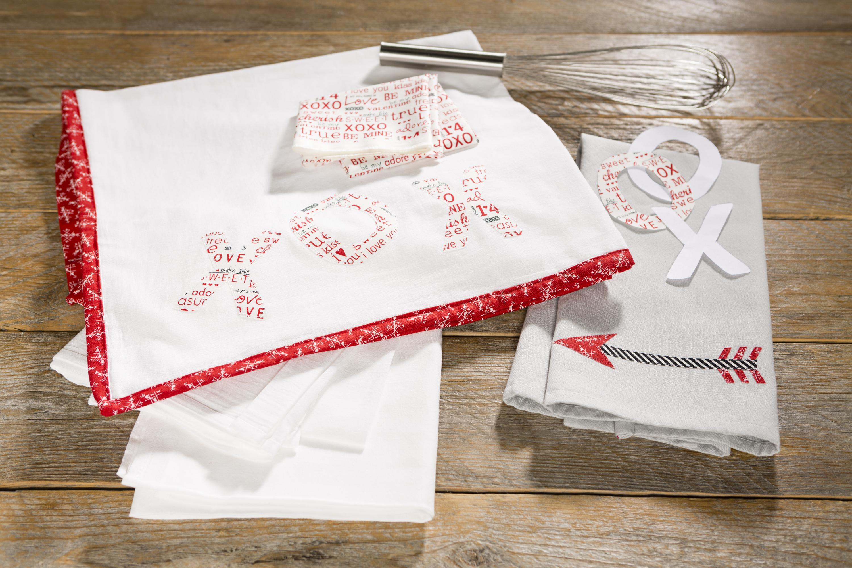 flour sack towel with moda fabric applique