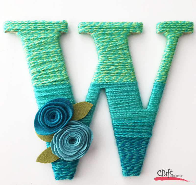 A Yarn Wrapped Initial made with Candy Shop yarn from Craft Warehouse